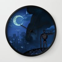 castle in the sky Wall Clocks featuring Castle in the Sky by Chibionpu