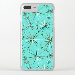 Mid-Century Modern Sputnik pattern, Robin's Egg Blue Clear iPhone Case