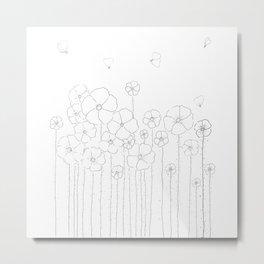 Bright Garden Doodle Art Illustration Metal Print
