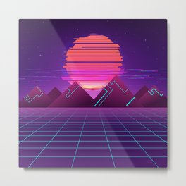Cyberpunk Landscape Aesthetic Metal Print