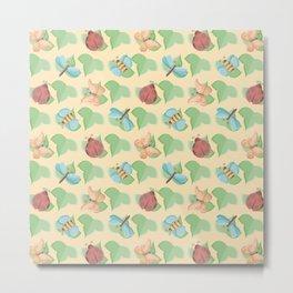 Cute Little Bugs Pattern on Leaves Metal Print