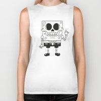 spongebob Biker Tanks featuring Spongebob Skull by Zhi-Yun