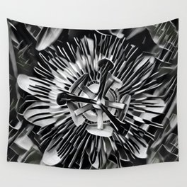 Passiflora Black and White Passion Flower Wall Tapestry