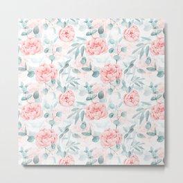 Rose Blush Watercolor Flower And Eucalyptus Metal Print