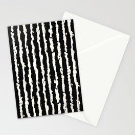 Simple Tattered Line Cream on Black Minimal Abstract Stationery Cards