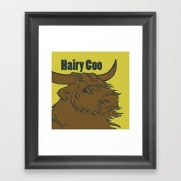 Scottish Hairy Coo (Green) Framed Art Print