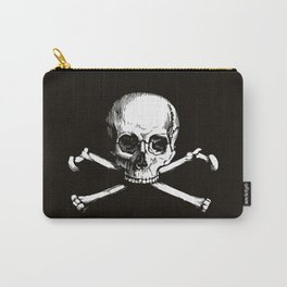 Skull and Crossbones | Jolly Roger | Pirate Flag | Black and White | Carry-All Pouch