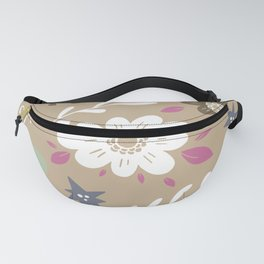Flowers and butterflies In Brown Pattern Fanny Pack