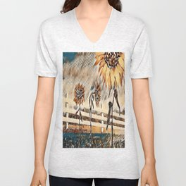 """Sunflower Trio"" Unisex V-Neck"