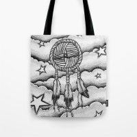 dream catcher Tote Bags featuring Dream catcher by DeMoose_Art