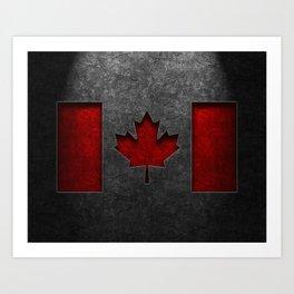 Canadian Flag Stone Texture Art Print