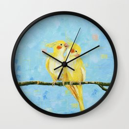 Cockatiels. Birds Wall Clock