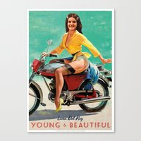 moto Canvas Prints featuring MOTO PINUP by Ads Libitum