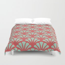 Coral and Mint Green Deco Fan Duvet Cover