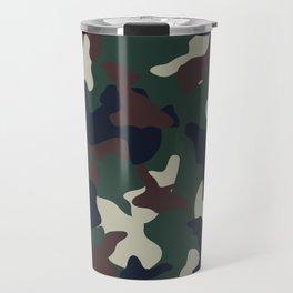 Green Brown woodland camo camouflage pattern Travel Mug