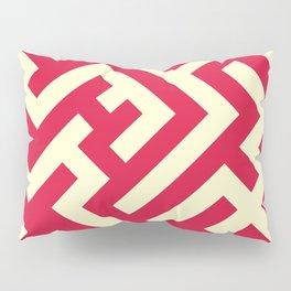 Cream Yellow and Crimson Red Diagonal Labyrinth Pillow Sham