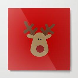 Christmas Reindeer-Red Metal Print
