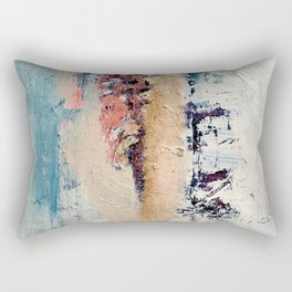 Artemis: A pretty, minimal, abstract mixed media piece in blue, gold, pink, purple, and white Rectangular Pillow