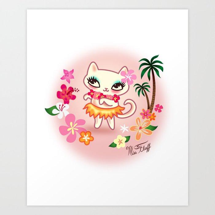 Hula Kitty - Kawaii Cat dancing the Hula Art Print