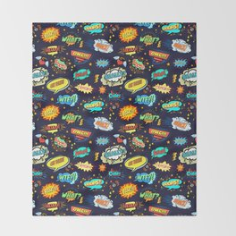 Retro Vintage Comic Book Speech Bubbles Design Throw Blanket