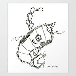 Funky Narwahl Art Print