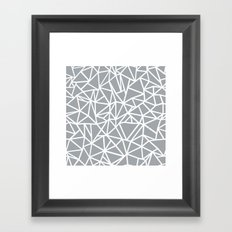 Abstract Outline Thick White on Grey Framed Art Print