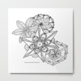 Vermont Zentangle Snow Flakes Illustration Metal Print