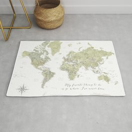 Where I've never been detailed world map in moss green Rug