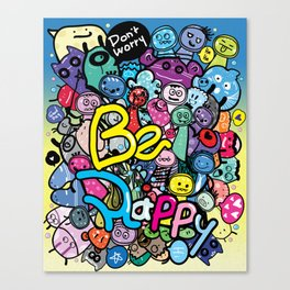 Be Happy doodle monster Canvas Print