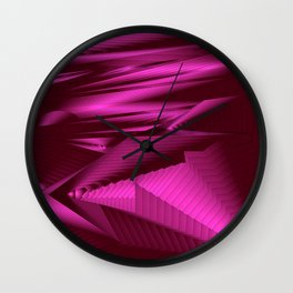 Diffuse landscap with stylised mountains, sea and pink Sun. Wall Clock