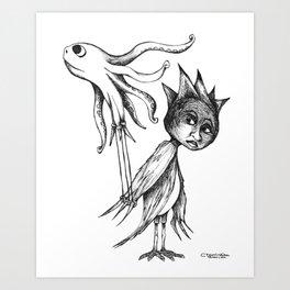 Birdgirl Takes Octopus for his Afternoon Flight Art Print