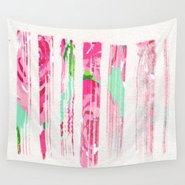Pinstripes of Roses Wall Tapestry