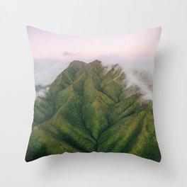 Clouds over the Koʻolau Mountains on Oahu Throw Pillow