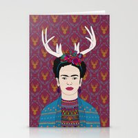 frida Stationery Cards featuring DEER FRIDA by Bianca Green