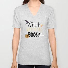 Witch way to the boos? Unisex V-Neck