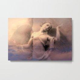 Ethereal Spiritual Angel Wall Art Print-Dreaming Angel Wings Spiritual Home Decor Metal Print