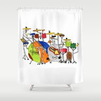 drums Shower Curtains featuring EPIC DRUMS by OUTSIDE VOICE