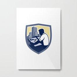 Architect Draftsman Drawing Shield Retro Metal Print