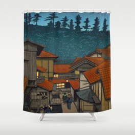 Vintage Japanese Woodblock Print Village At Night Feudal Japan Shower Curtain