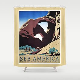 See America travel ad Shower Curtain