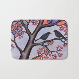 spring crows in the stained glass tree Bath Mat