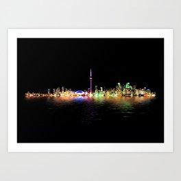 Toronto Skyline At Night From Centre Island Reflection Art Print