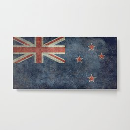 National flag of New Zealand - Vintage Grungy Metal Print