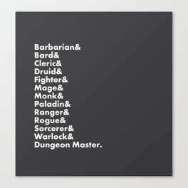 Dungeons and Dragons - Classes Canvas Print