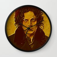 jack white Wall Clocks featuring Jack White by yahtz designs
