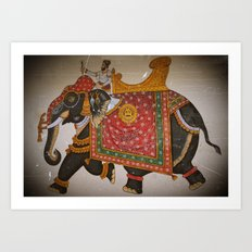 Elephant and mahout (Mewar style) Art Print