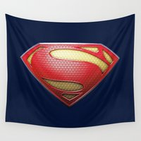 superman Wall Tapestries featuring Superman by DeBUM