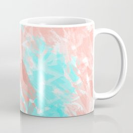 Artsy Modern Coral Cyan Abstract Art Coffee Mug