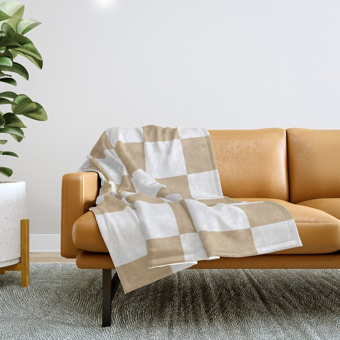 Large Checkered - White and Tan Brown Throw Blanket
