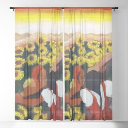 Classical Masterpiece Mexican Sunflowers 'Chismosas' floral landscape painting Sheer Curtain
